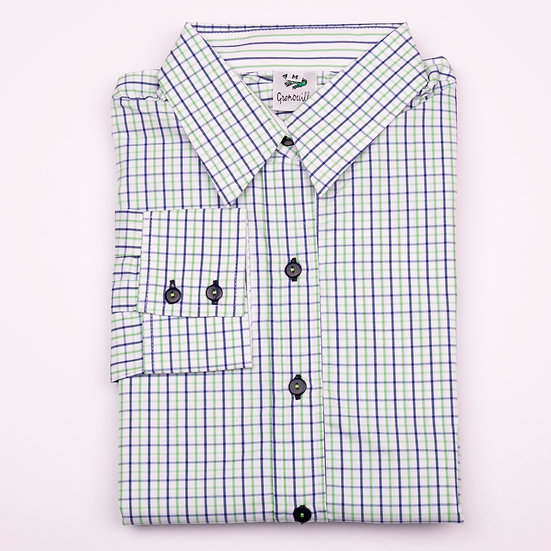 Green and blue tattersall check easy care relaxed fit shirt_Folded