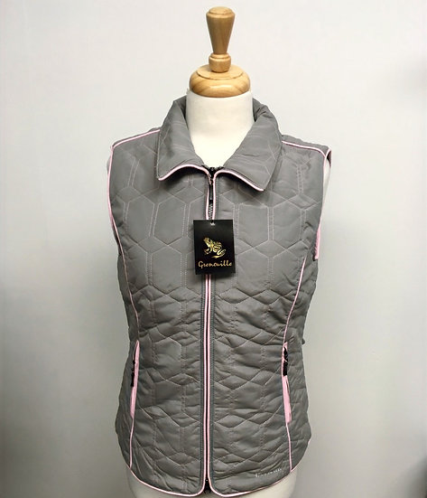 Diamond Gilet - Grey with Pink Piping