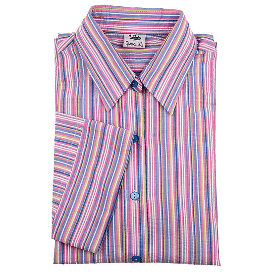 Ladies multi pink striped Seersucker - 3/4 Sleeve Fitted - 4569/4
