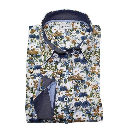 Blue poppies and daisy print shaped fit shirt_Folded