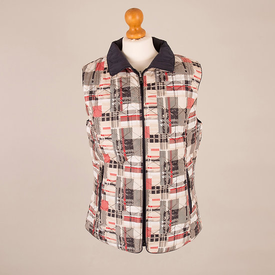 Plain navy and beige, navy and red abstract print reversible diamond gilet_Front