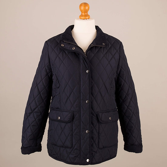 Navy with navy corduroy trim lady's quilted jacket