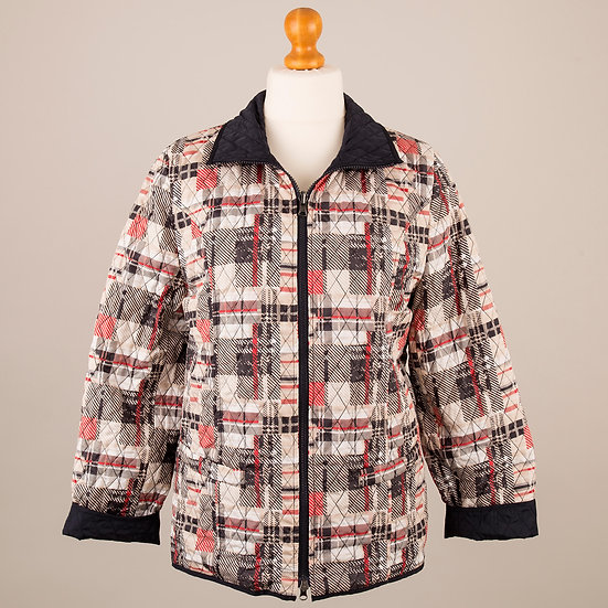 Navy, red and beige check and navy reversible jacket_Navy, red and beige check side