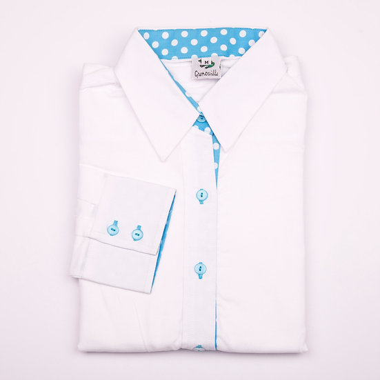 White oxford cotton with blue with white polka dot detail inserts relaxed fit shirt_Folded
