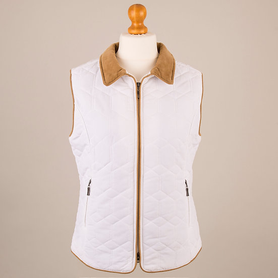 White with tan corduroy trim diamond gilet