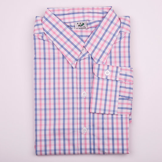 Pink and blue check easy care men's long sleeve shirt_Folded