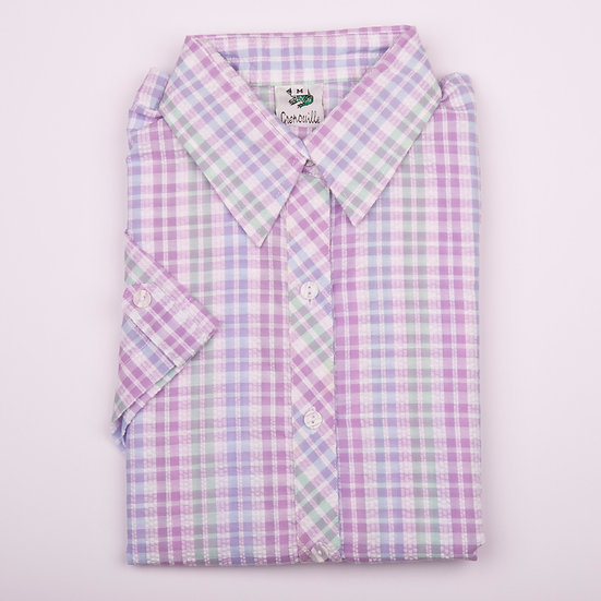 Lilac and mint check seersucker cap sleeve relaxed fit shirt_Folded