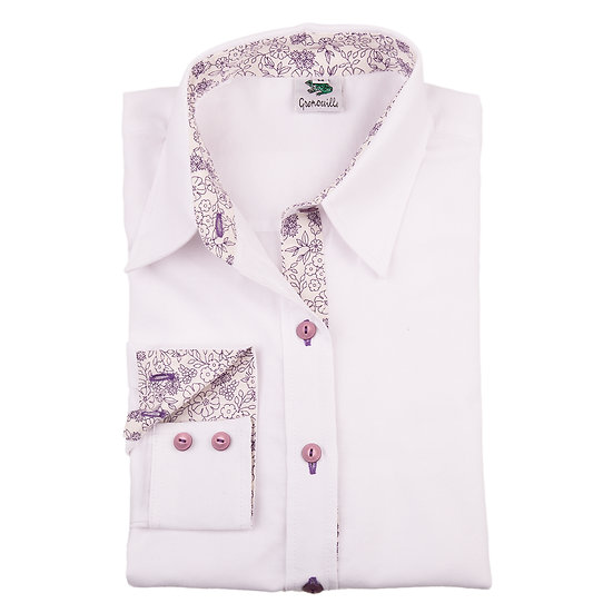 Ladies white Oxford shirt  - Relaxed fit - lilac flower