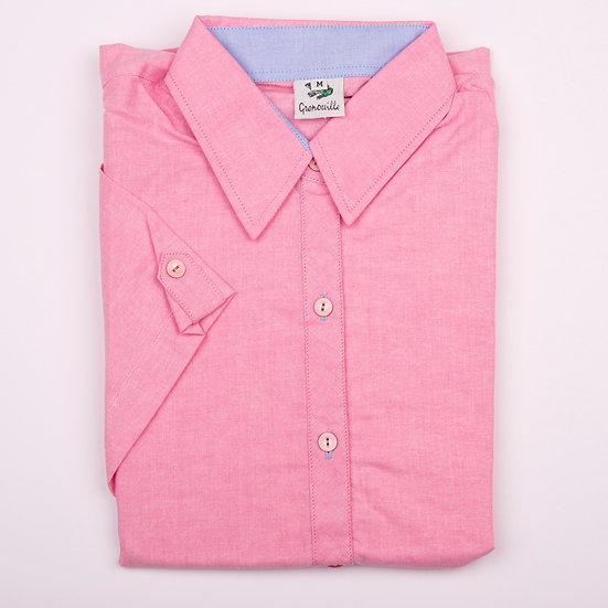 Dark pink oxford with blue oxford insert detail cap sleeve relaxed fit_Folded
