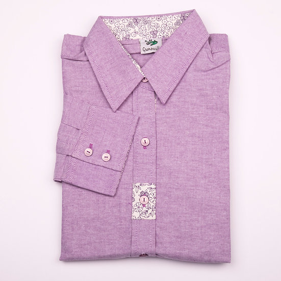 Purple oxford with purple flower detail insert relaxed fit shirt_Folded