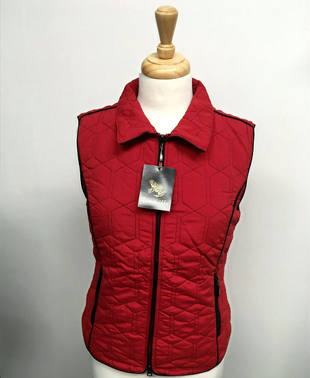 Diamond Gilet - Red with Black Piping