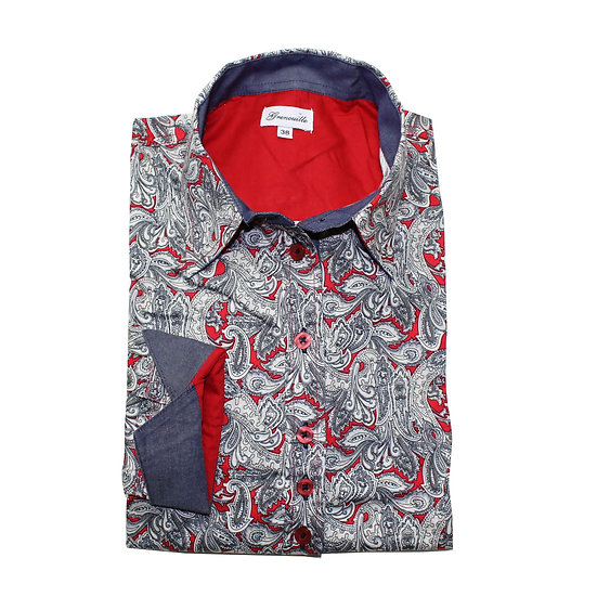 Red and grey paisley print shaped fit shirt_Folded