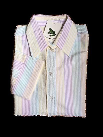 Ladies lilac, aqua, lemon striped Seersucker - 3/4 Sleeve Fitted