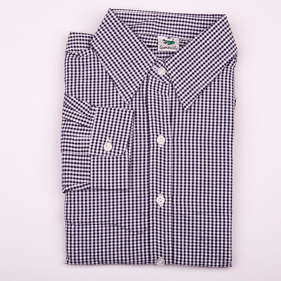 Navy gingham check seersucker long sleeve relaxed fit shirt_Folded