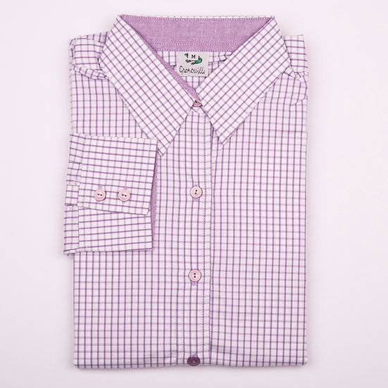 Purple check with purple oxford insert detail relaxed fit shirt - Folded