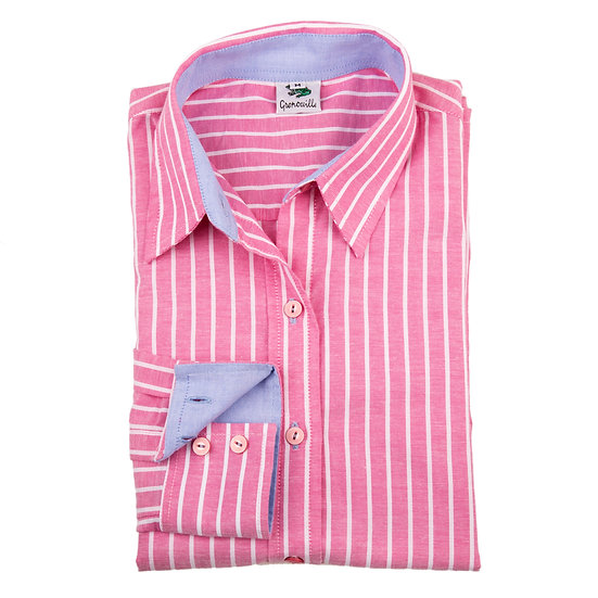 Ladies Grenouille pink & white striped Oxford shirt - Relaxed fit