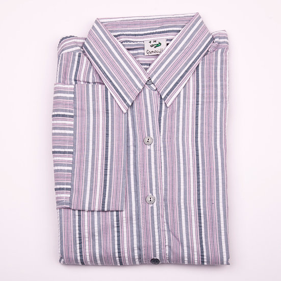 Grey and pink multi stripe seersucker 3/4 sleeve relaxed fit shirt_Folded