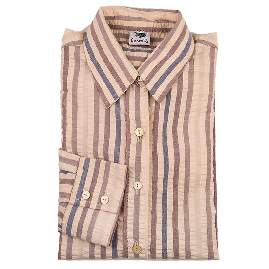 Beige, brown and navy wide stripe seersucker long sleeve relaxed fit shirt_Folded