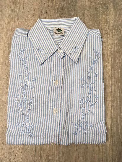 Ladies Blue and White Striped Embroidered Seersucker  - 3/4 Sleeve Relaxed Fit