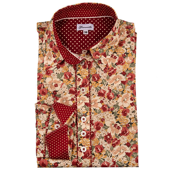 Maroon, beige and green flower print with contrast maroon and cream spot insert shaped fit shirt_Folded