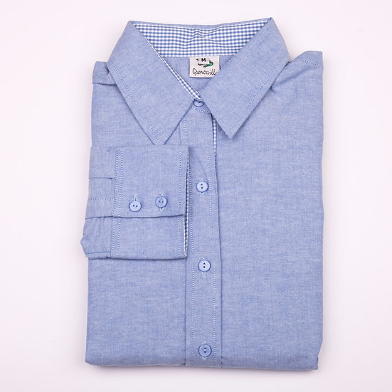 Blue oxford with blue gingham insert detail relaxed fit shirt_Folded