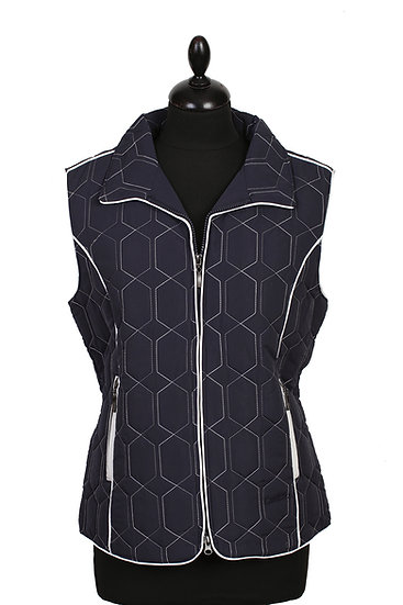 Diamond Gilet - Navy with White Piping - size 10