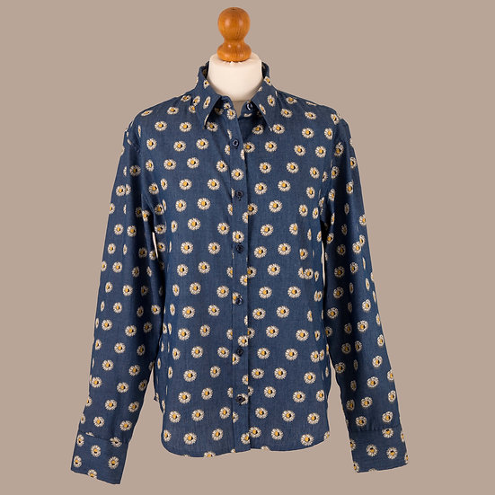 Ladies Grenouille, Denim daisy print, relaxed fitted shirt