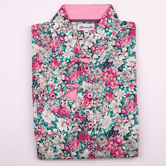 Pink, white and green flower print shaped fit shirt_Folded