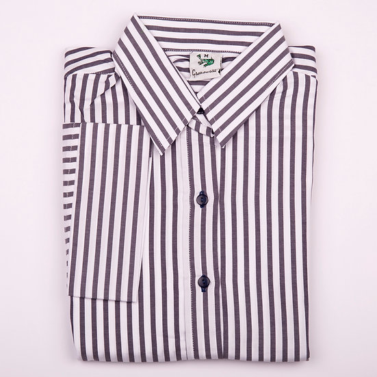 Grey navy and white stripe twill 3/4 sleeve relaxed fit shirt_Folded