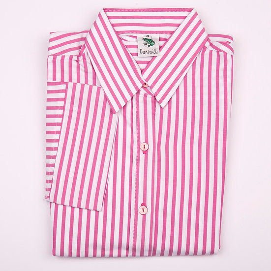 Pink and white stripe twill 3/4 sleeve relaxed fit shirt_Folded