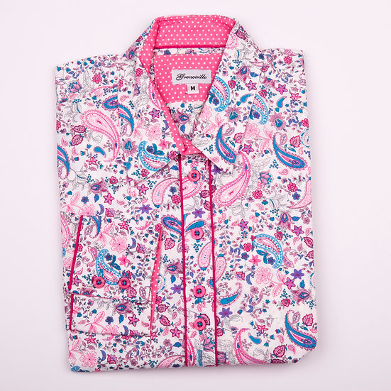 Cerise pink and blue paisley print shaped fit shirt_Folded