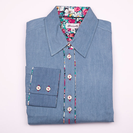 Blue Denim with Pink, White and Green Flower Inserts relaxed fit shirt_Folded