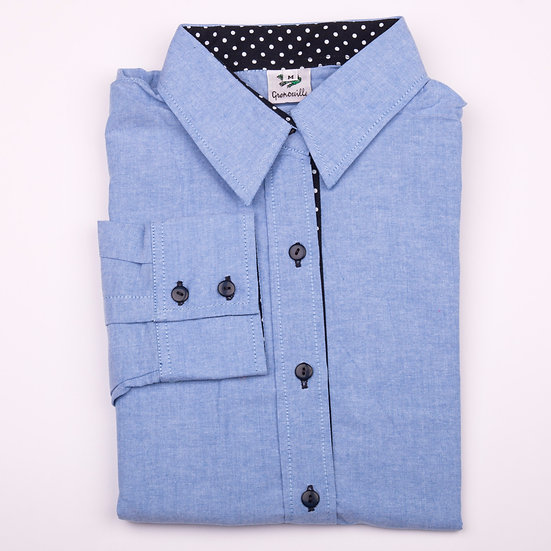 Blue oxford cotton with navy with white polka dot detail inserts relaxed fit shirt_Folded