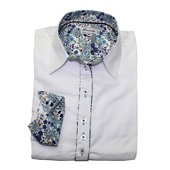 White oxford with blue small flower Morris style print inserts shaped fit shirt_Folded