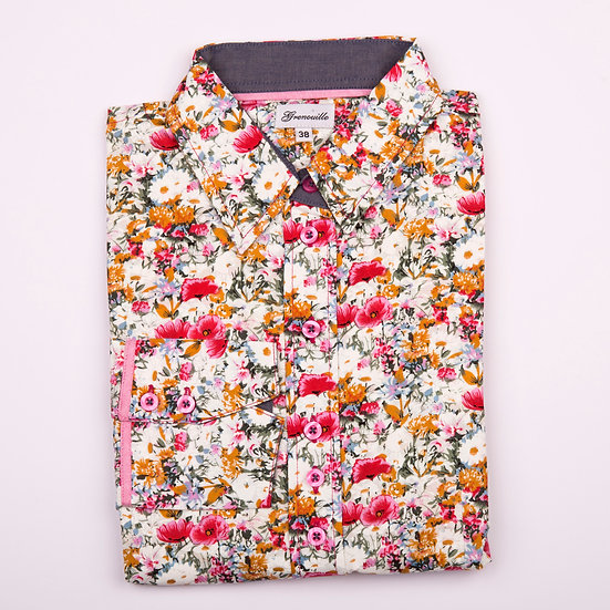 Pink poppies and daisy print shaped fit shirt_Folded