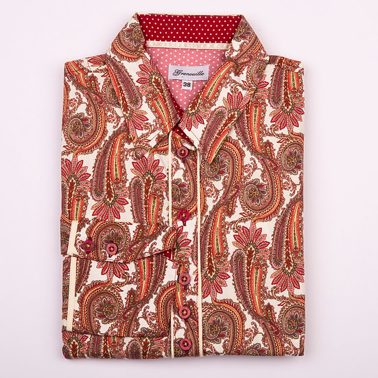 Large maroon paisley design with spot insert details shaped fit shirt_Folded