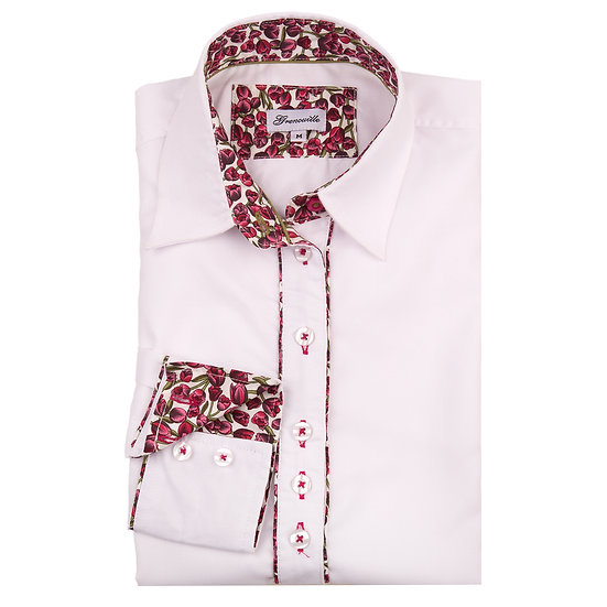 White oxford with dark pink tulip insert detail relaxed fit shirt_Folded