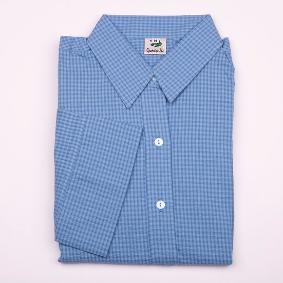 Blue on blue check seersucker 3/4 sleeve relaxed fit shirt_Folded