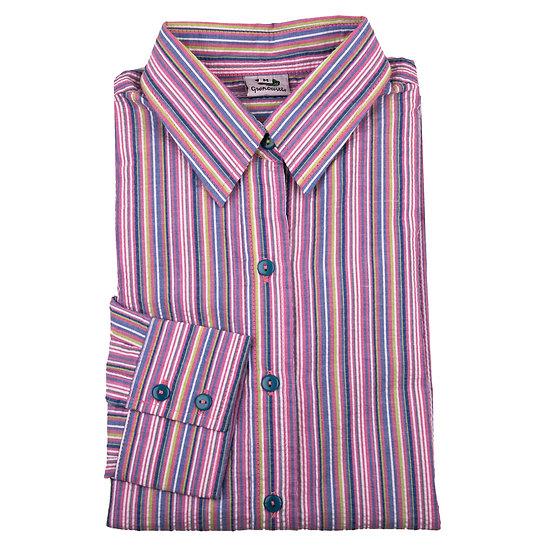 Ladies multi pink striped Seersucker - Long Sleeve Fitted - 4569/4