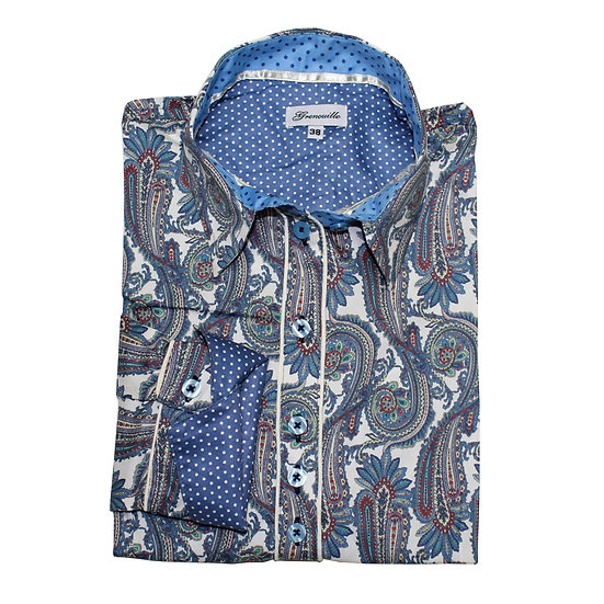 Large blue paisley design with spot insert details shaped fit shirt_Folded