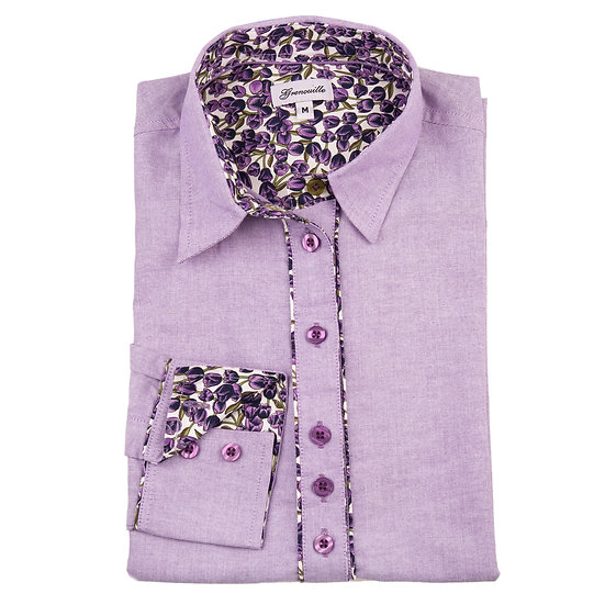Purple oxford with purple tulip insert detail relaxed fit shirt_Folded