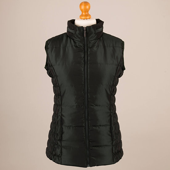 Pine green metallic / shiny finish hooded gilet