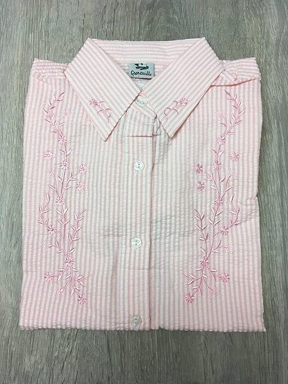 Ladies Pink Seersucker Shirt - Embroidered Flowers  - 3/4 Sleeve Relaxed Fit