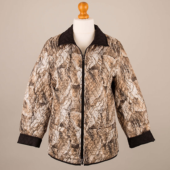 Brown abstract print and black reversible jacket_Abstract print side