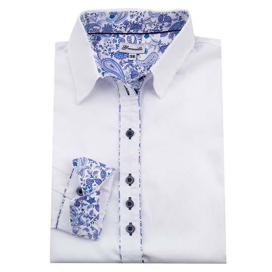White oxford with blue paisley inserts shaped fit shirt_Folded