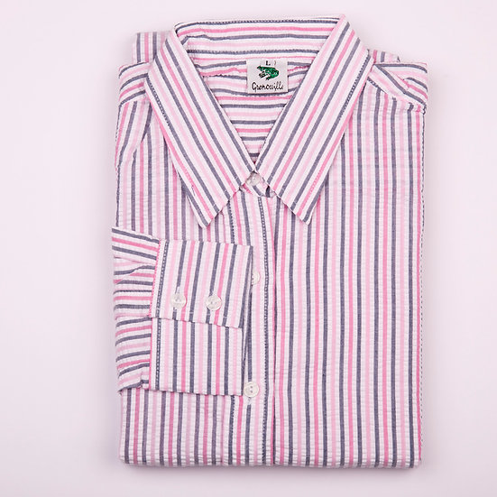 Pink and navy stripe seersucker long sleeve relaxed fit shirt_Folded