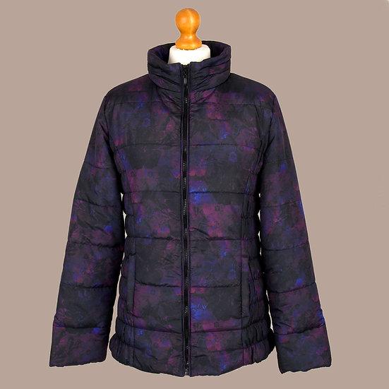 Digitally printed abstract purple primrose hooded jacket