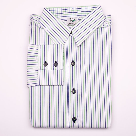 Green and blue stripe easy care relaxed fit shirt_Folded