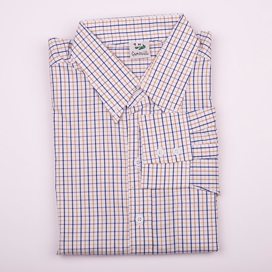 Blue and yellow tattersall check men's long sleeve shirt_Folded