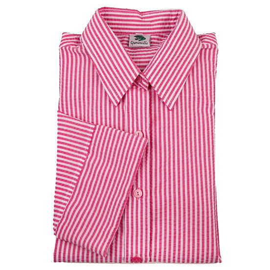 Cerise and white stripe seersucker 3/4 sleeve relaxed fit shirt_Folded